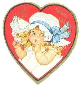 Vintage 1940s Valentine Greeting Card Heart Shaped Girl Bonnet
