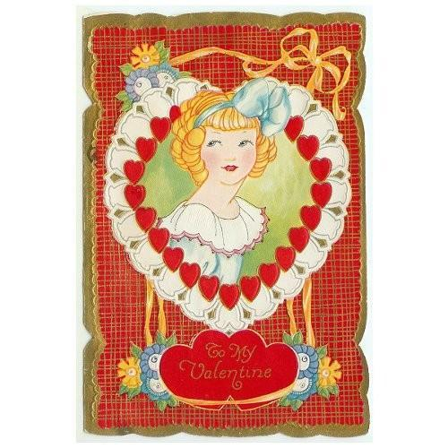 Vintage Valentine Card 1930s Whitney Style Girl Heart