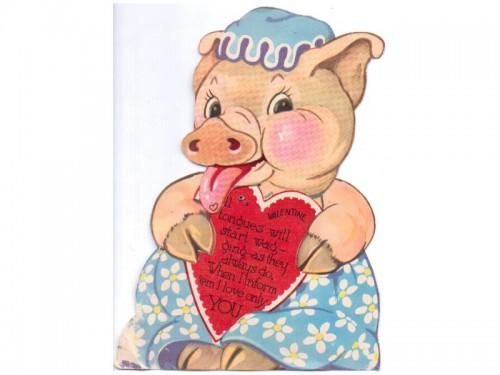 mechanical valentine card vintage sandycreekcollectables - Valentine Pig