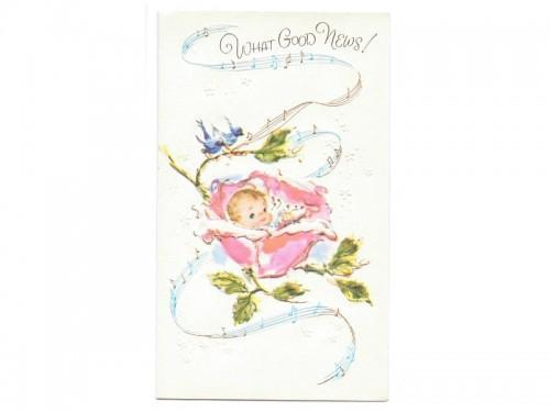 Vintage Baby Congratulations Card UNUSED 1950s Good News Baby