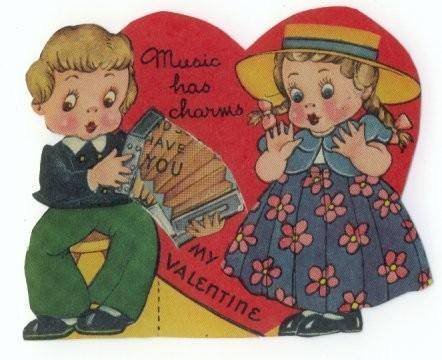 Vintage 1940s Mechanical Valentine Card Boy Girl Hat Accordian