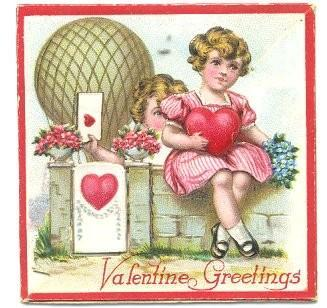 Vintage 1930s Valentine Greeting Card Swinging Door Boy Girl Germany