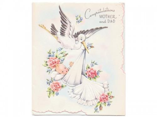 Vintage New Baby Card 1950s Congratulations Greeting Stork Blanket
