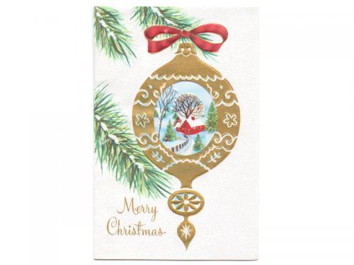 Vintage Christmas Card Unused 1960s Christmas Greeting Ornament Pop Up