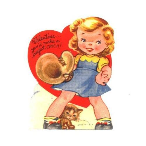 Vintage Valentines Day Card Girl By Sandycreekcollectables On Zibbet