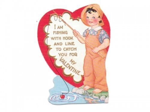 Vintage Valentine Card Boy Fishing Pole Overalls 1950s Greeting