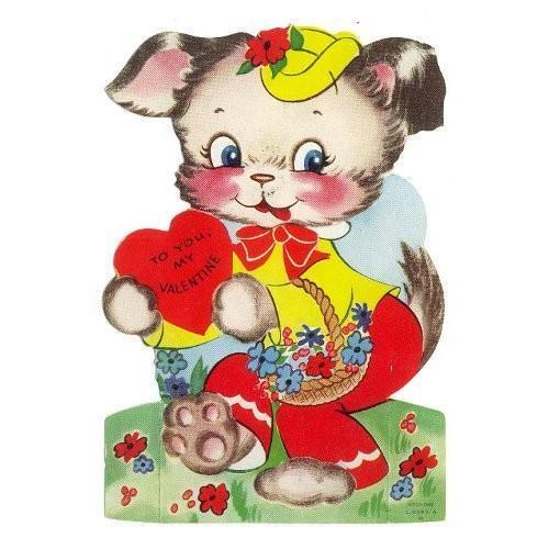 Vintage Valentine Card Puppy Basket of Flowers 1950s