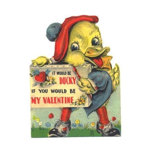 Vintage 1940s Valentine Card Duck Artist Paintbrush Cap