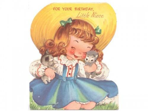 Birthday Card Vintage 1950s Childs Greeting Niece Girl Big Hat Kittens