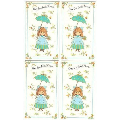 Vintage Invitation Cards Come to a Bridal Shower Girl Umbrella Lot