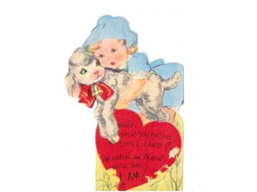 Vintage Valentine Card 1950s Girl Lamb Sheep Greeting