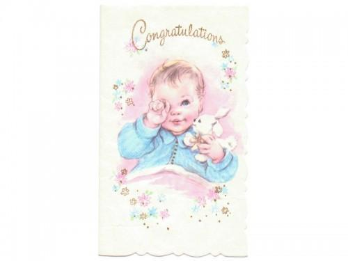 New baby card unused vintage 1950s by sandycreekcollectables on zibbet new baby card unused vintage 1950s congratulations baby greeting bunny m4hsunfo