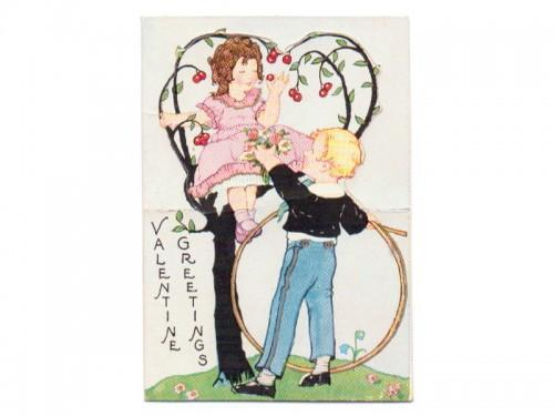 Vintage Valentine Card Art Deco Carrington 1930s Girl Boy Tree