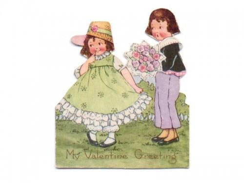 Valentine Card Vintage 1930s Greeting Boy Girl Bouquet Hat Dress