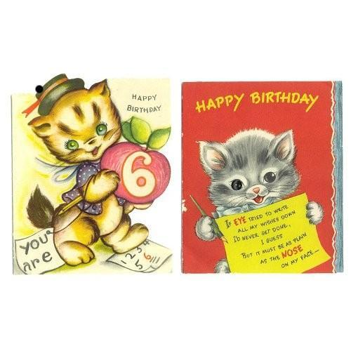 Kittens Button Eye 2 Vintage Childrens Birthday Greeting Cards
