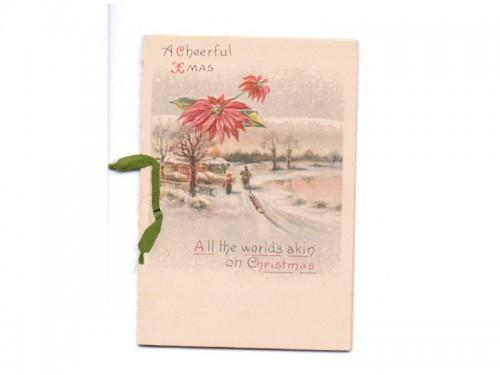 Antique Christmas Card 1900s Greeting Snow Sled Scene Poinsettias