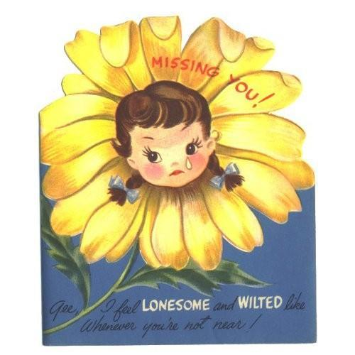 Vintage Greeting Card Missing You 1950s Girl Daisy Unused