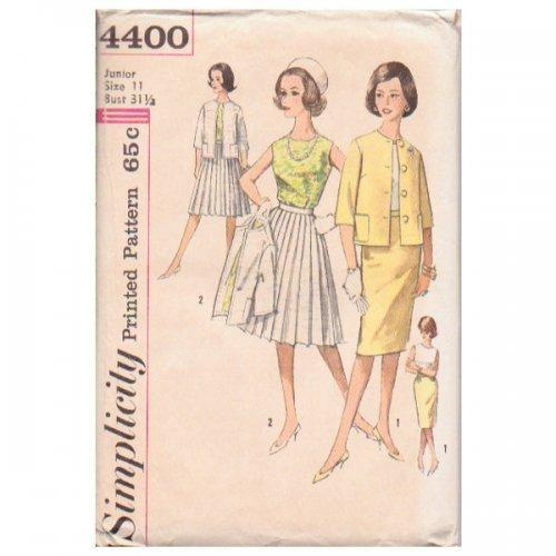 Ladies Blouse Jacket Skirt Simplicity Pattern 4400 Vintage 1960s