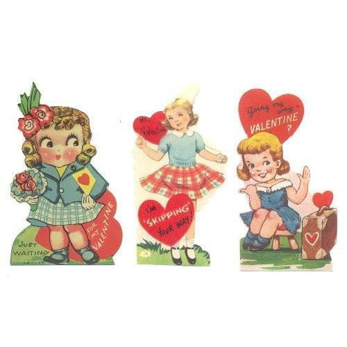 Vintage 1940s Valentine Cards Girls Jump Rope Suitcase Bouquet Lot of 3