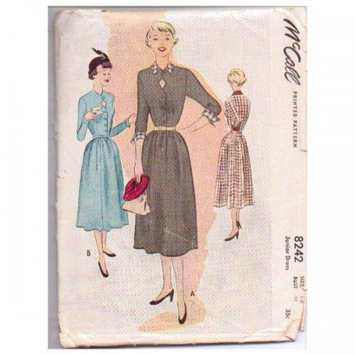 Vintage McCall Pattern 8242 1950s Ladies Dress Sewing Size 13 Bust 31
