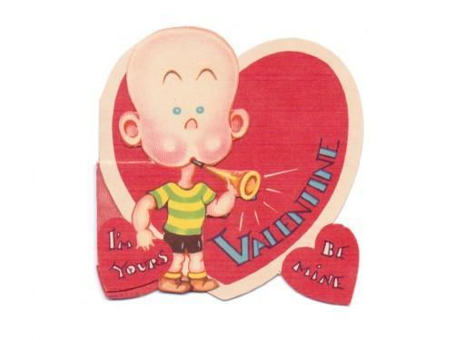 Vintage Valentine Card Bald Boy Blowing Horn 1950s Greeting