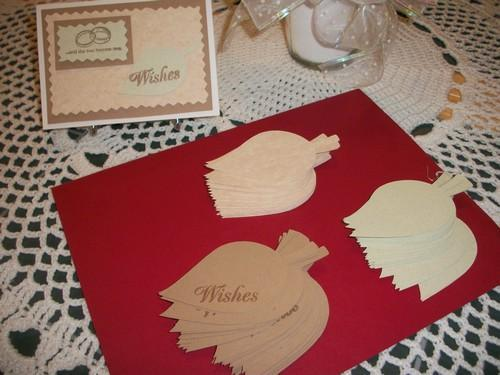 SALE / 50 Wedding Wish Tree Leaves / with rhinestone accent / and table card