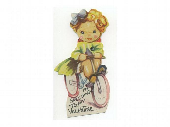 Vintage Valentine Card 1940s Mechanical Girl on Bicycle