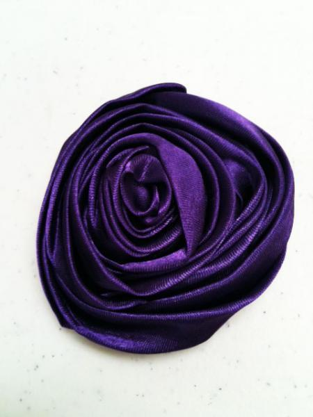 Lot of 2 Purple Rolled Satin Flowers, Amelia --- ZIBBET