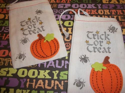 Trick or Treat Halloween Hand stamped muslin/canvas candy bag with Pumpkin and