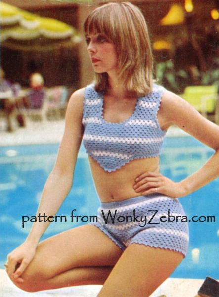 Vintage Crochet Pattern PDF 045 SunTop and HotPants from WonkyZebra