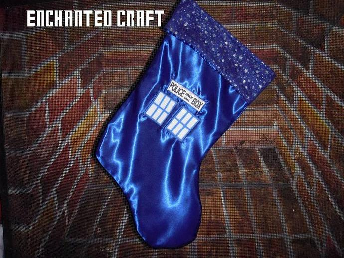 Christmas Stocking- Dr Who TaRDiS made with satin, crystal- get your name on it
