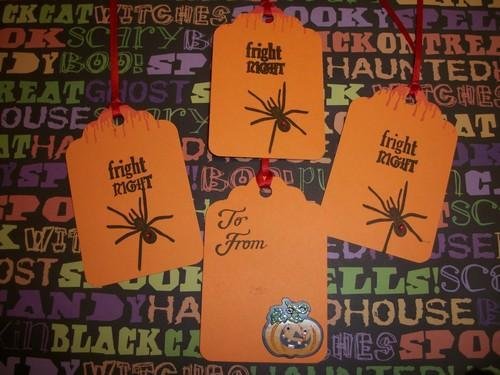 Halloween hang tags /on sale / Fright Night / with red rhinestone spider