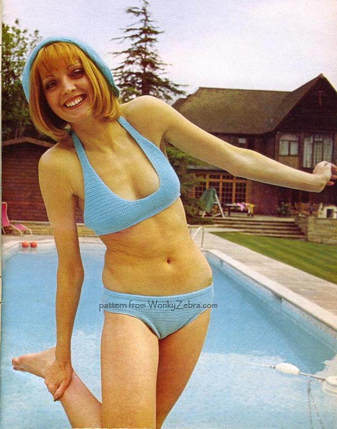 Vintage Crochet Pattern PDF 075 Blue Bikini and Hat from WonkyZebra