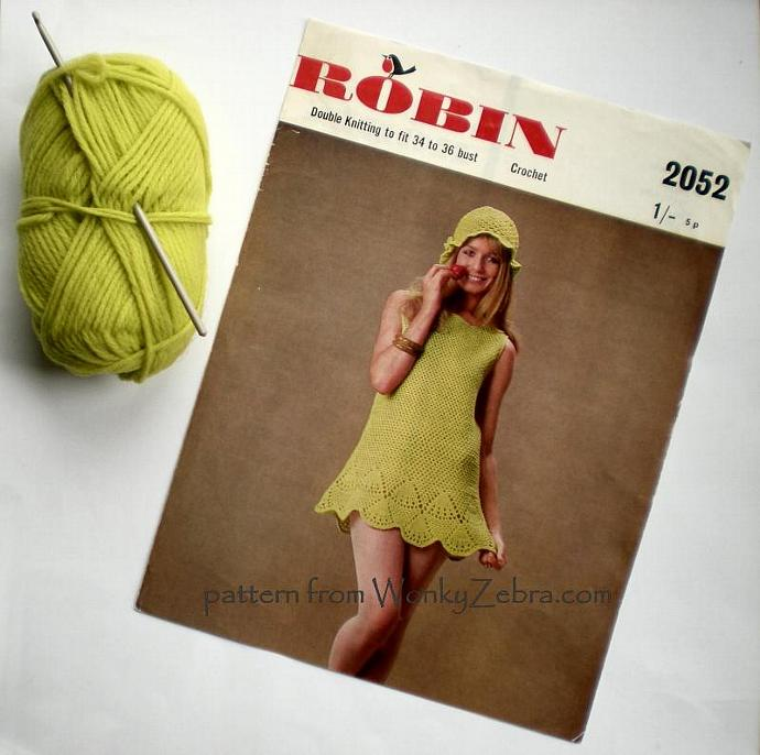 Vintage Crochet Pattern PDF 009 Fab Mini Dress from WonkyZebra