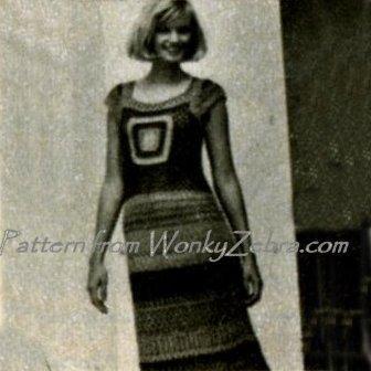 Vintage Pattern PDF 134 Granny Square Maxi Dress from WonkyZebra