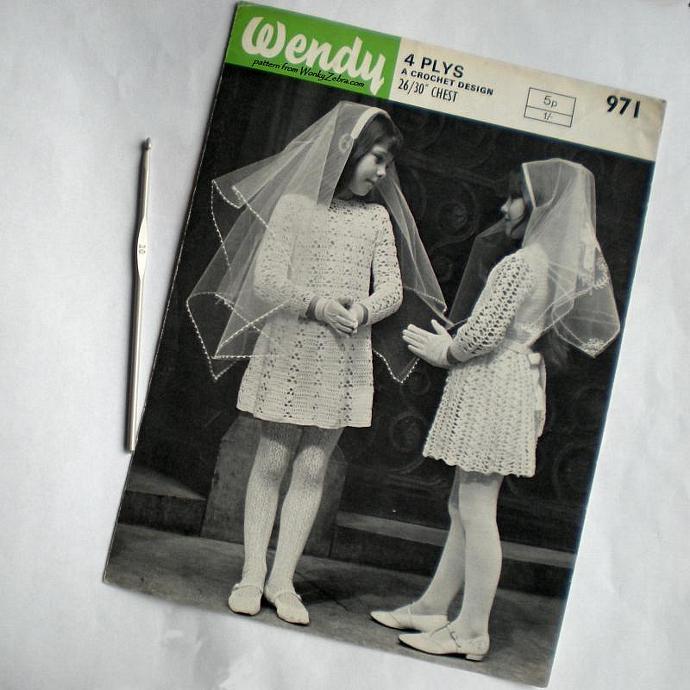 Vintage Crochet Pattern 079 PDF Confirmation Dresses from WonkyZebra