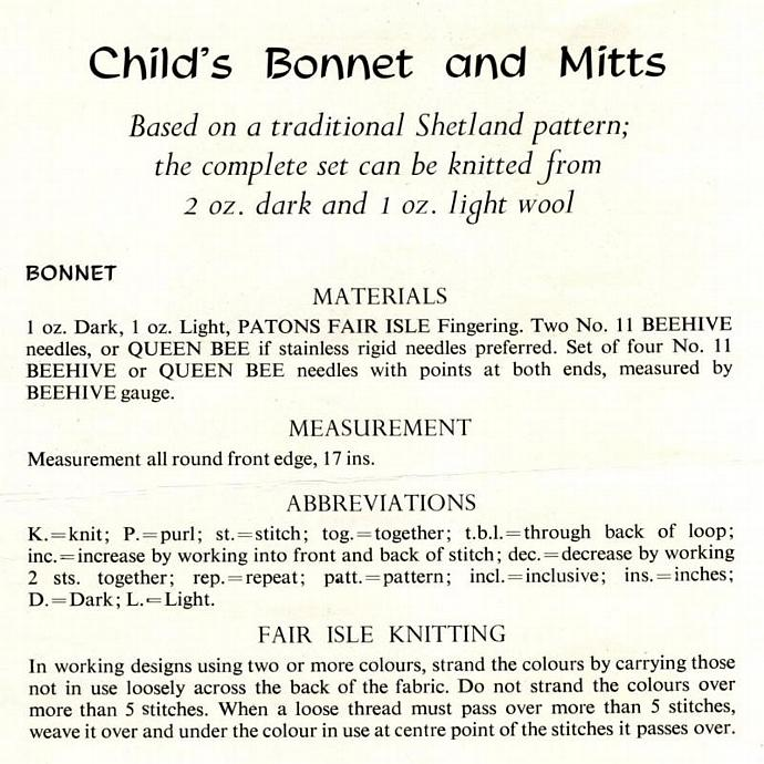 Vintage Knitting Patterns 048 Bonnets and Mitts from WonkyZebra