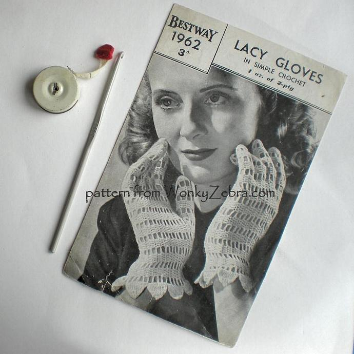 Vintage Crochet Pattern 033 Lacey Gloves from WonkyZebra