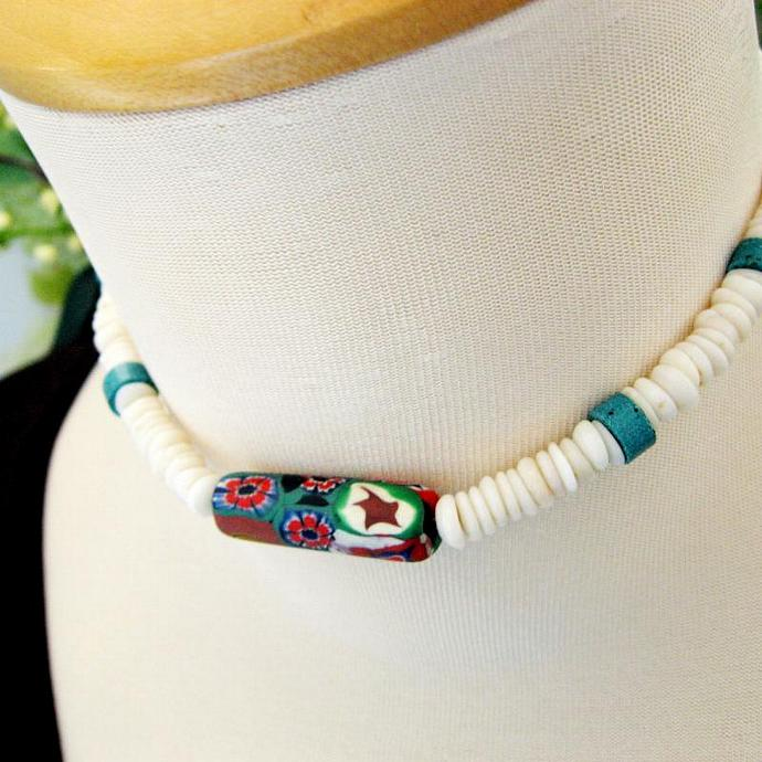 Vintage 1970s Genuine Puka Shell and Turquoise Necklace Choker Unisex