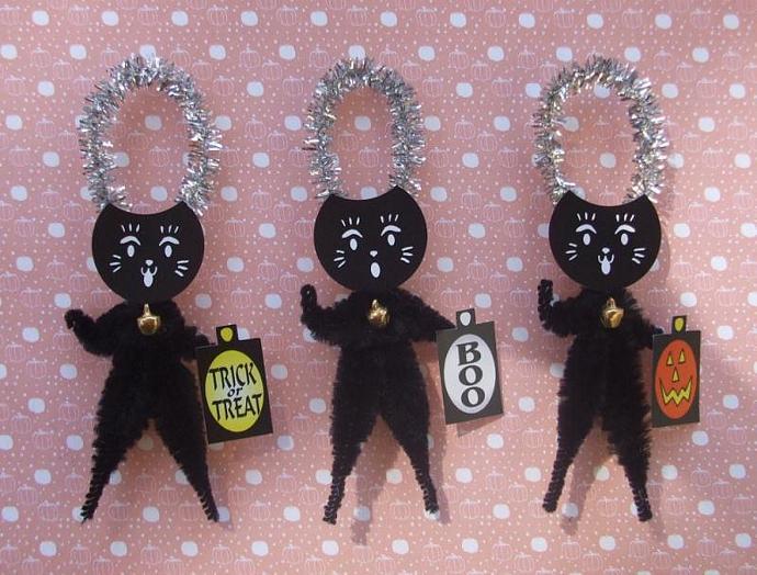 Maneki Neko 3 Lucky Black Cats Chenille Halloween Ornaments