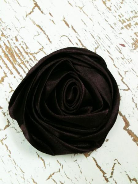 Lot of 2 Brown Rolled Satin Flowers, Amelia --- ZIBBET