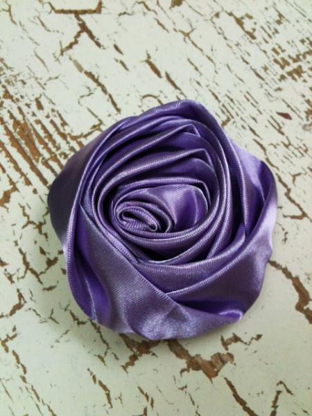 Lot of 2 Lavender Rolled Satin Flowers, Amelia --- ZIBBET