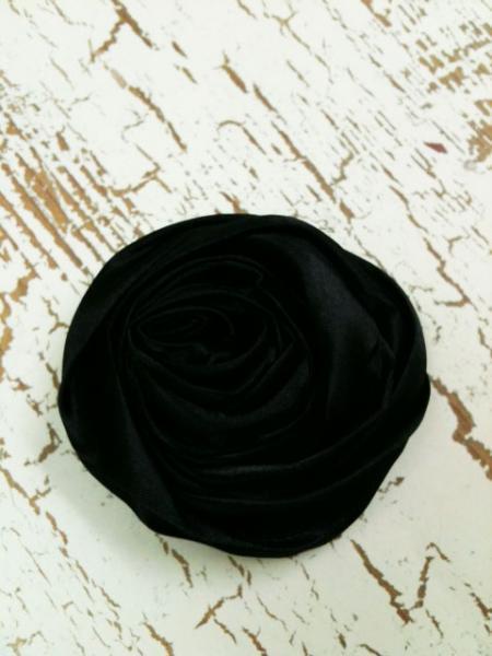 Lot of 2 Black Rolled Satin Flowers, Amelia --- ZIBBET