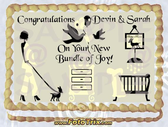 Baby Shower Elegant  1/4 sheet cake topper