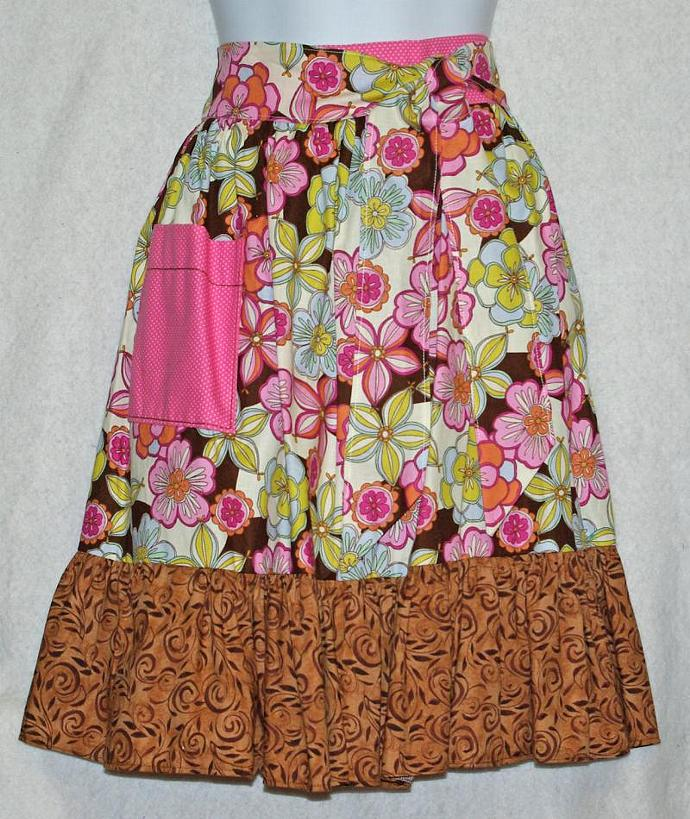 Pink and Brown Waist Apron