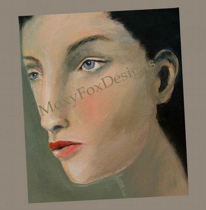 Art -- HOPELESSLY COMPLICATED Portrait Young Woman Black Hair Green Eyes FREE US