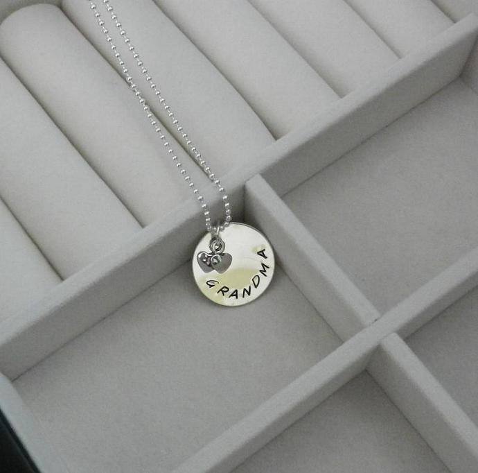 """Grandma"" 3/4"" Sterling Silver Hand Stamped Pendant"