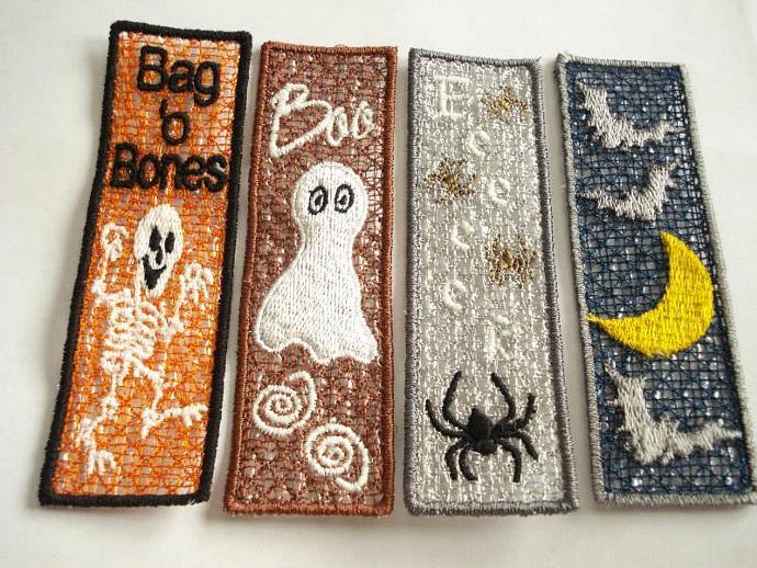 Embroidered FSL Halloween Bookmark: Bats & Moon