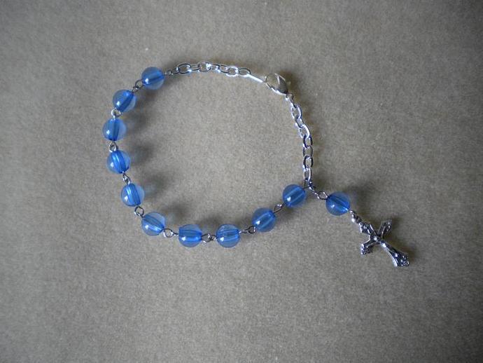Blue Bead Rosary Bracelet