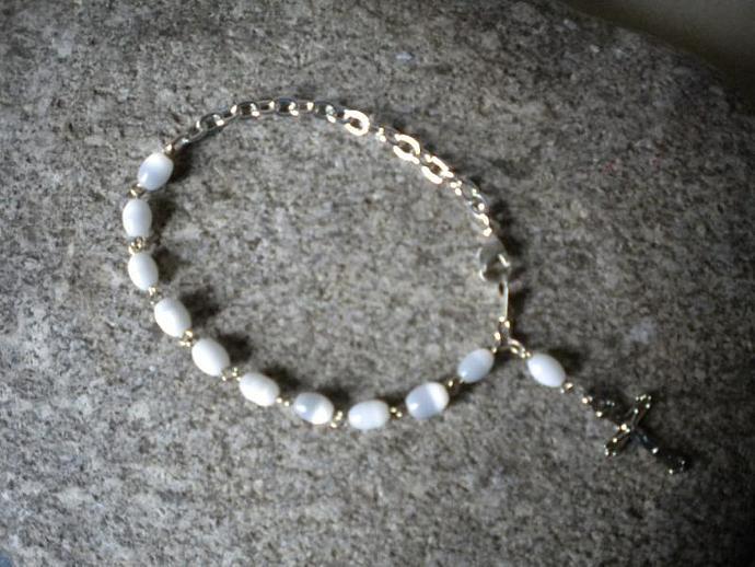 White Spinel Bead Rosary Bracelet